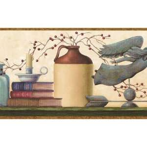 Brown and Blue Country Shelf Wallpaper Border: Home & Kitchen