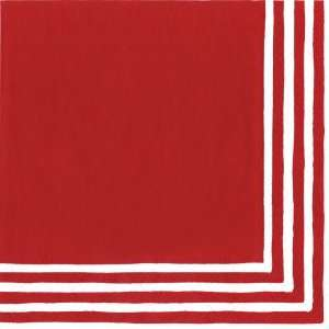 Caspari Stripe Border Paper Dinner Napkin, 20 Count, Red
