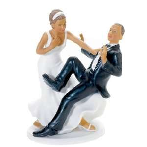 Wedding Cake Topper   Comical Couple   Groom Plunge   Non