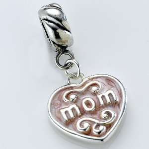 pink heart,dangle, charm,bead, fits pandora, brighton
