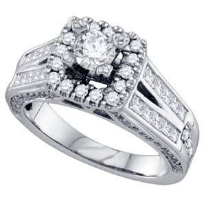 com 1 1/2 Carat Round Princess Diamond 14k White Gold Engagement Ring