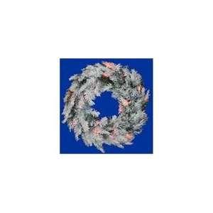 Flocked Alaskan Artificial Christmas Wreath   Multi D
