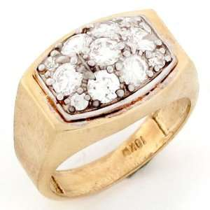 10k Gold Cluster Cocktail CZ High Polish Unisex Rings Jewelry