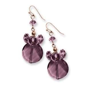 Rose tone Dark Red Crystal Round Drop Earrings/Mixed Metal Jewelry
