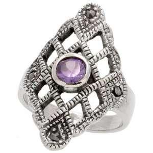 Silver Marcasite Diamond shaped Ring, w/ Brilliant Cut Amethyst
