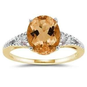 Oval Cut Citrine & Diamond Ring in Yellow Gold SZUL Jewelry