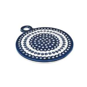 Pottery Flowering Peacock Large Round Cutting Board: Kitchen & Dining