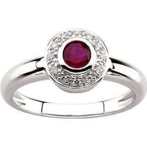14 karat white gold Genuine Ruby & Diamond Ring Diamond