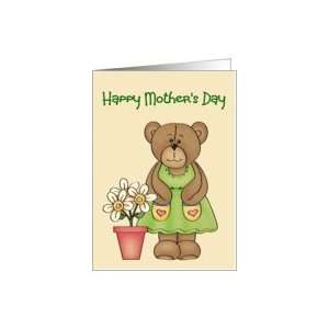 Happy Mothers Day (General)(Cute Bear in Dress with Flower Pot)) Card