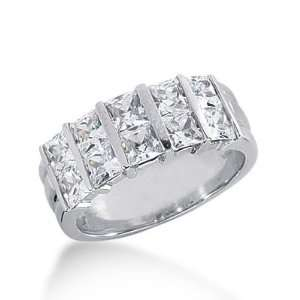 18k Gold Diamond Anniversary Wedding Ring 10 Princess Cut Diamonds 2