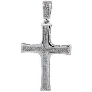 10k White Gold Diamond Cross Pendant, w/ 0.32 Carat Brilliant Cut