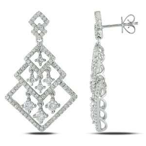 14k White Gold Diamond Drop Earrings, (2 cttw, G H Color