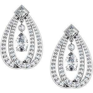 14k White Gold Diamond Chandelier Earrings 4 5/8ct
