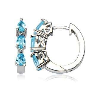 Sterling Silver Blue Topaz Hoop Earrings (0.7 Diameter) Jewelry