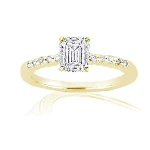 Emerald Cut Diamond Engagement Ring Pave SI1 GIA 14K YELLOW GOLD Ring