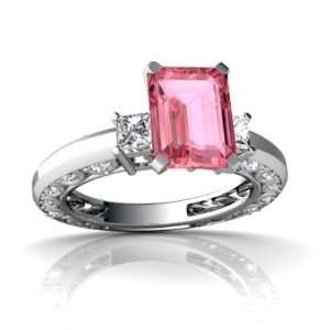 Gold Emerald cut Created Pink Sapphire Engagement Ring Size 8 Jewelry