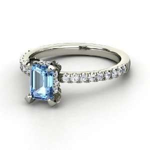 Reese Ring, Emerald Cut Blue Topaz 14K White Gold Ring with Diamond