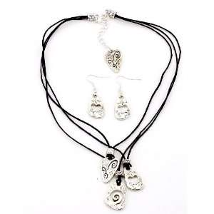 Fashion Jewelry Desinger Inspired Silver Hart Necklace and Earrings