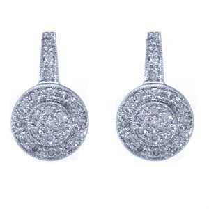 White Gold, Diamond Antique Style Fashion Earrings (0.60 ctw) Jewelry
