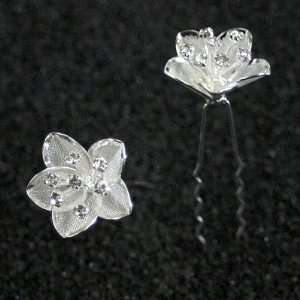 Flower with Crystal Stamens Hair Pins Sticks [PACK OF 6] Everything