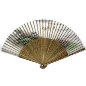 Chinese Painted Bamboo Wood Oriental Silk Folding Fan