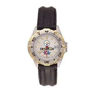 Steelers Superbowl Xl Champs All Star Ladies Black Leather Strap Watch