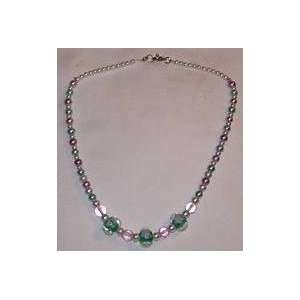 Green & White Crystal Glass Beads & Pearls Necklace