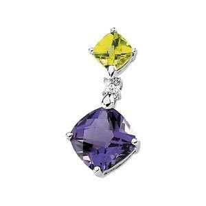14K White Gold Amethyst, Peridot & Diamond Pendant Jewelry