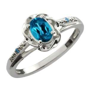 56 Ct Oval London Blue Topaz Blue Diamond 18K White Gold Ring Jewelry