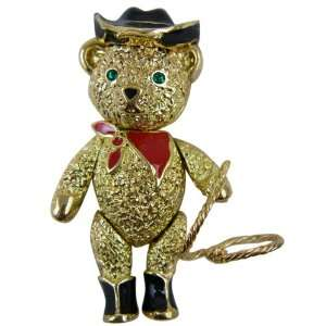 Pin   Classic Gold Plated Cowboy Teddy Bear Lapel Pin Necklace Toys