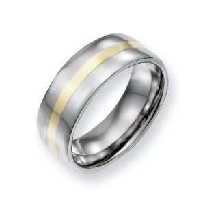 Titanium 14k Gold Inlay Flat 8mm Polished Comfort Fit Wedding Band