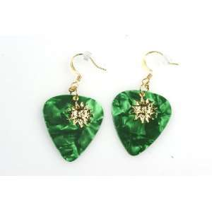 com PickC Jewelry Guitar Pick Earrings with Sun Charm   Green & Gold