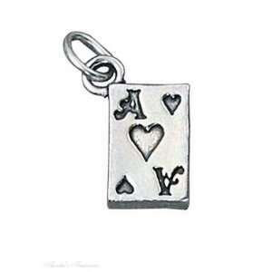 Sterling Silver 3D Ace Of Hearts Playing Card Good Luck Charm Jewelry