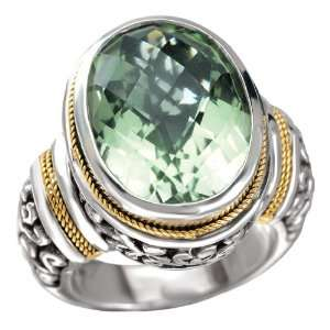 925 Silver & Green Amethyst Oval Checkerboard Ring with
