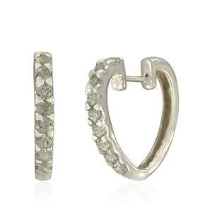 Sterling Silver Round Shaped Green Amethyst Hoop Earrings Jewelry