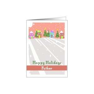 Happy Holidays Father Folk Art Snow Christmas Trees Card