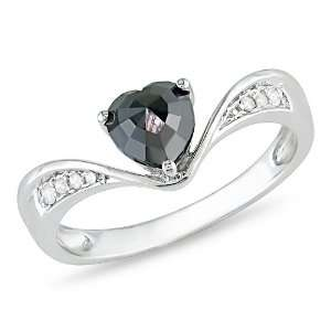 14k White Gold Heart Shaped Black and White Diamond Ring, (.62 cttw G