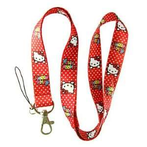 Hello Kitty Red Face Multiple Dots Lanyard Keychain  Holder