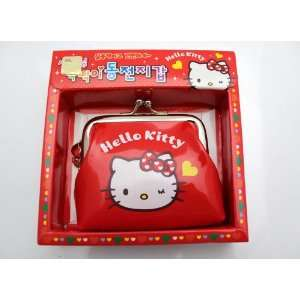 Imported Hello Kitty Vinyl Coin Money Bag w/ Charm   RED