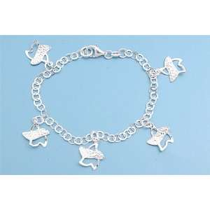 Sterling Silver Fashion Star Italian Charms Bracelet Jewelry