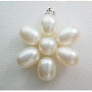 on Sterling Silver Bail   Big White Flower Arts, Crafts & Sewing