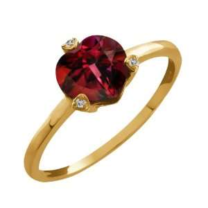 1.55 Ct Heart Shape Crimson Red Mystic Topaz and Topaz 10k