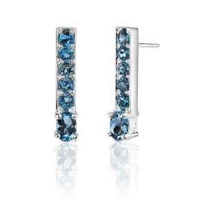 2.50 Carats Oval & Round Cut London Blue Topaz Earrings in
