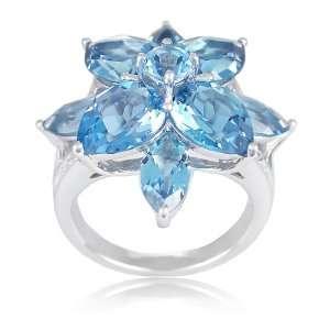 Swiss Blue Topaz and London Blue Topaz Flower Ring, Size 7 Jewelry