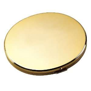 Oval Compact Makeup Mirror in Gold Tone Metal with