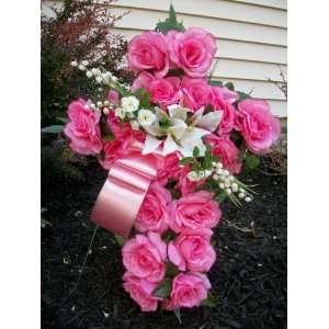 Dark Pink and Cream Memorial Cross Wreath 20