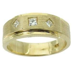 Mens 1/3 Carat Princess Diamond 14k Yellow Gold Wedding Ring: Jewelry