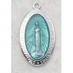 Sterling Silver Miraculous Large Blue Enameled Mary Medal