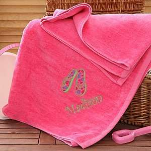 Beach Fun Personalized Pink Beach Towels:  Home & Kitchen
