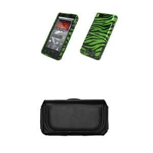 Motorola Droid X MB810 Green and Black Zebra Stripes Design Case Cover